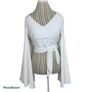 Lulus Cropped Bell Sleeve Blouse Waist Tie Belt